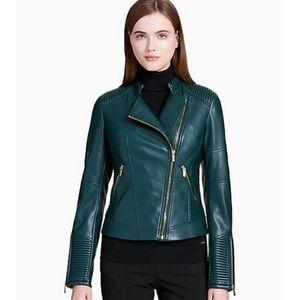Calvin Klein Faux Leather Moto Jacket NEW